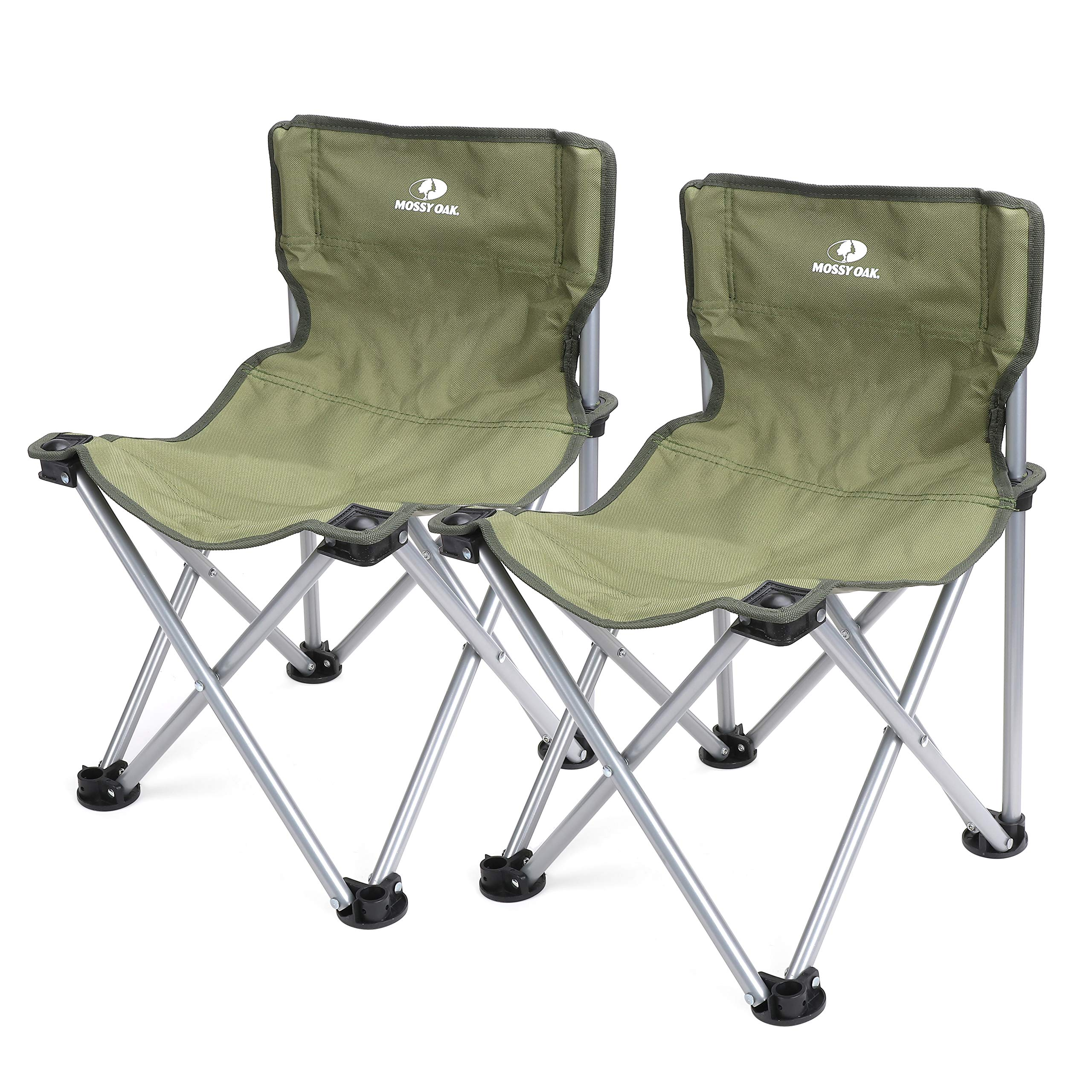 MOSSY OAK Folding Stool Mini with Backrest Portable Lightweight Camping Chair with Carry Bag, 2-Piece, Max Load 220 Lbs, 20.5 x 14 x 13 inch
