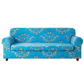 TIKAMI 2-Piece Sofa Slipcovers Floral Patterned Stretch Loveseat Covers  Washable Couch Protector for Living Room(Loveseat,Blue)