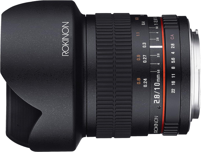 Black Rokinon 10M-MFT 10mm F2.8 ED AS NCS CS Ultra Wide Angle Lens for Olympus and Panasonic Micro 4//3-MFT Mount Digital Cameras