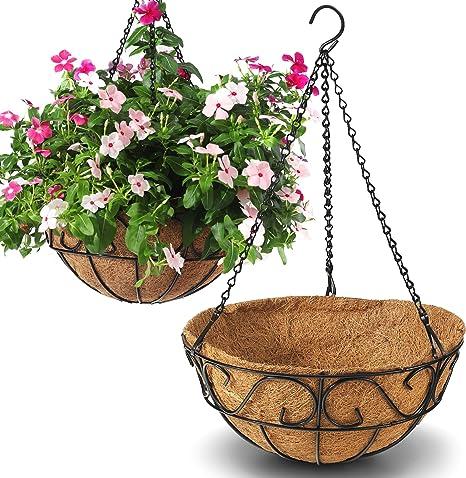 Amazon Com Cabasaa 2 Pack Metal Hanging Planter Basket With Coco Coir Liner Chain Round Wire Plant Holder Flower Pots Hanger Garden Decoration Porch Decor Watering Hanging Baskets Indoor Outdoor 12inch Kitchen