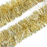 Artflower 3 Pcs x 6.6ft Thick Tinsel Christmas Tree Garland Shiny Sparky Ceiling Hanging Tinsel Decorations Christmas Wedding