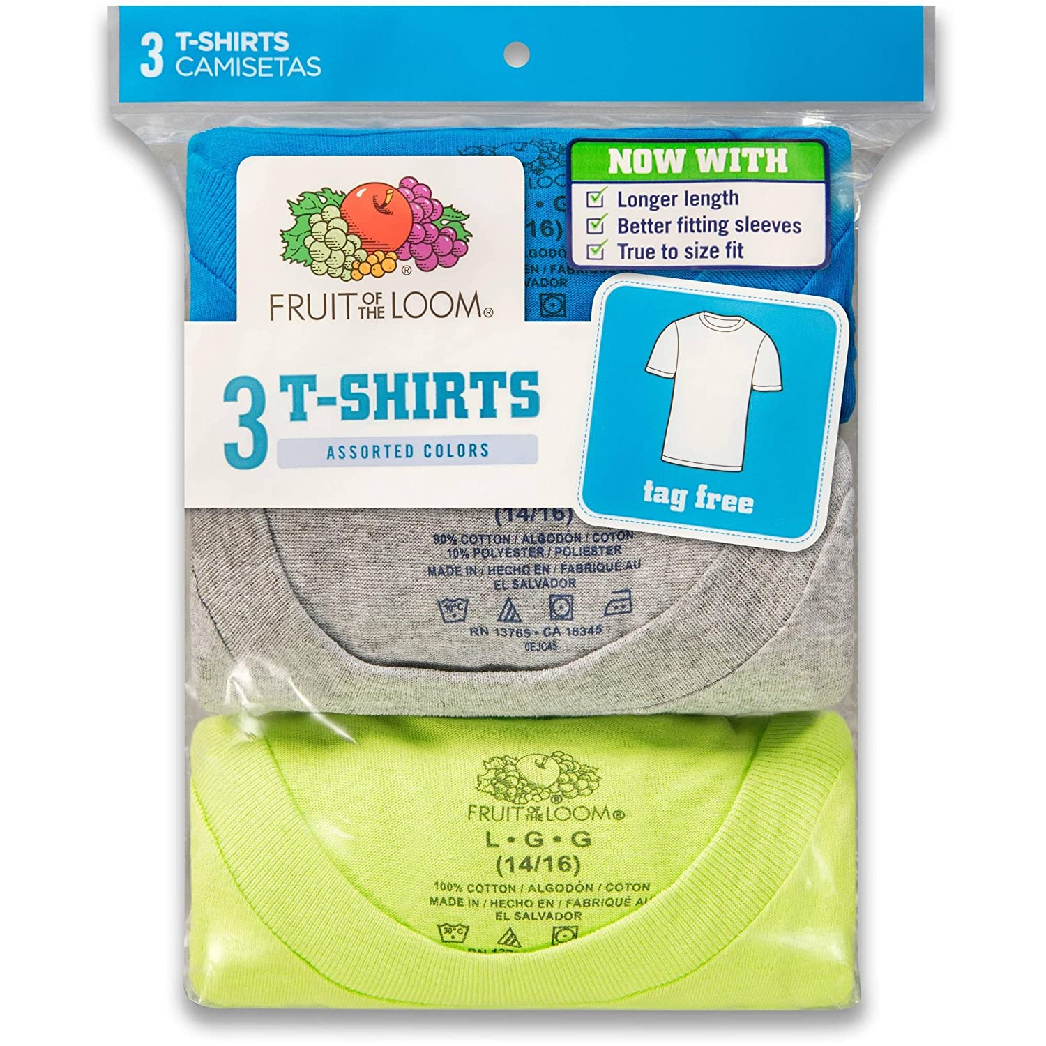 Fruit Of The Loom Boys Crew Neck T-Shirt 3 Pack (525B) 4P525C