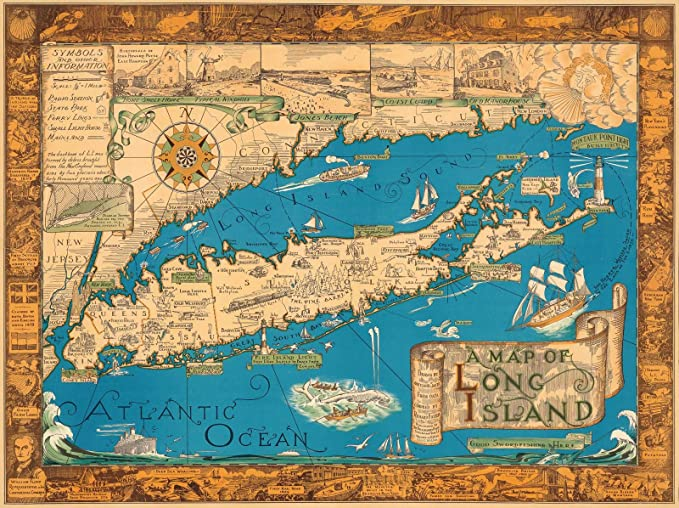 Amazon.com: historic pictoric A Vintage Map of Long Island by Courtland Smith, Rustic Wall Art, Antique Cartography Reproduction Poster | 24in x 18in: Home ...