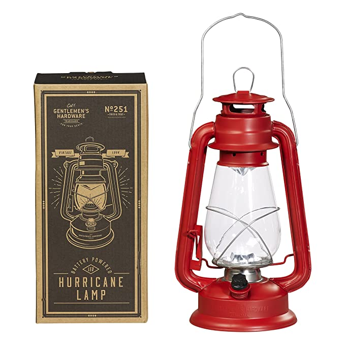 Gentlemen's Hardware Sportsman's Chrome LED Battery Powered Hurricane Lamp, Red : Sports & Outdoors