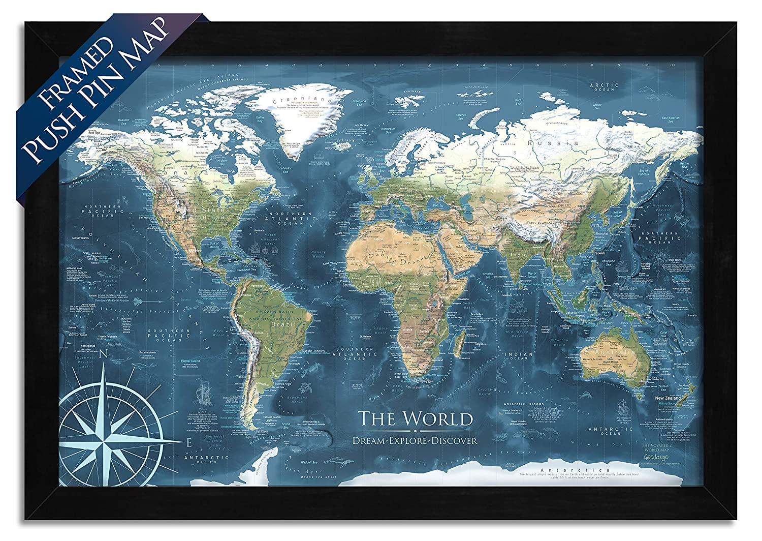 Amazon Com World Map Push Pin Mounted On Pin Board And Framed