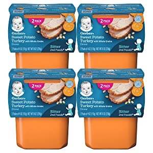 Gerber 2nd Foods Baby Food Tubs, Sweet Potato Turkey with Whole Grains, 2-4oz Tubs/Pack (Pack of 4)