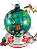 Grateful Gnome - Hummingbird Feeder - Hand Blown Glass - Green Globe With Wild Flowers - 24 Fluid Ounces