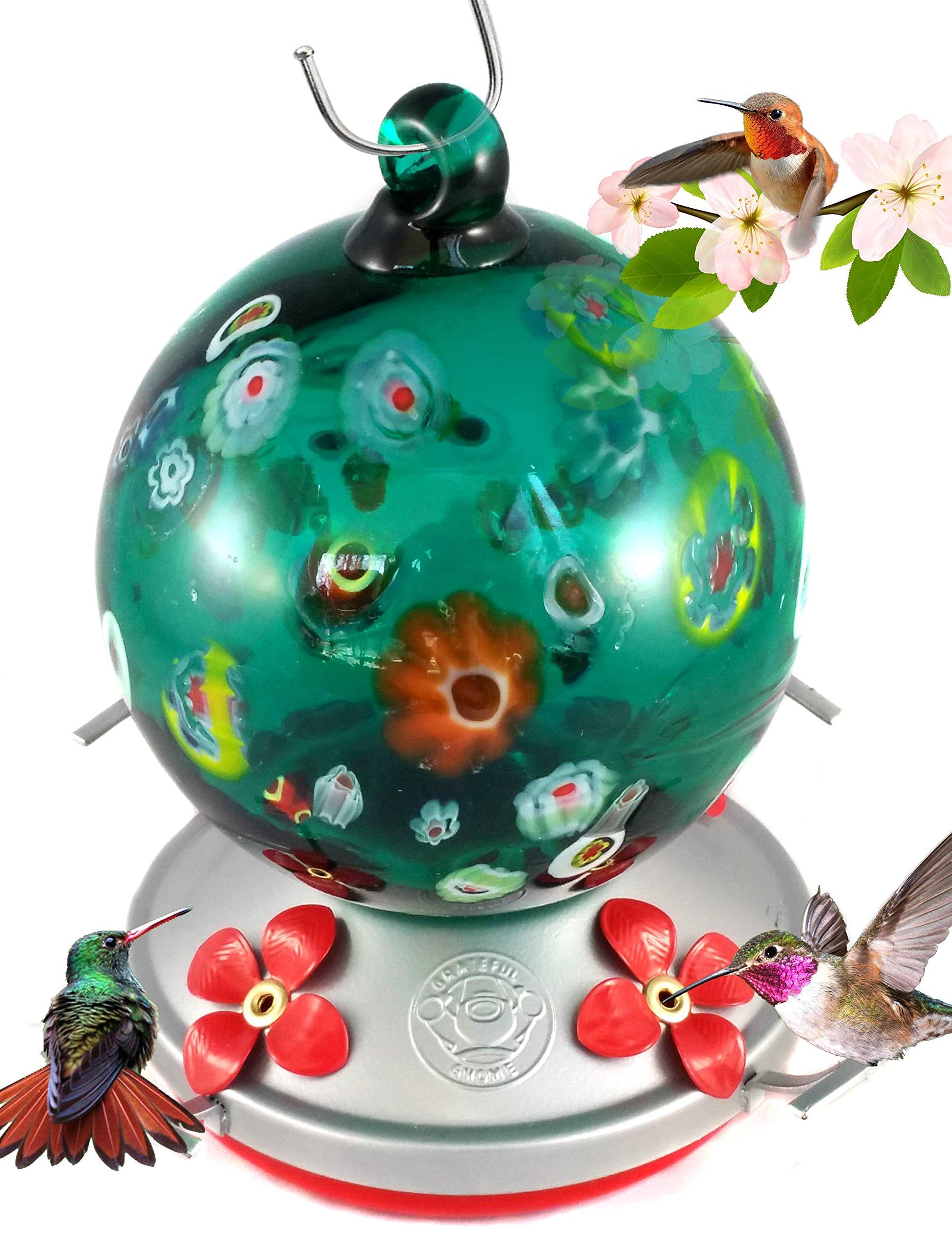 Grateful Gnome Hummingbird Feeder - Hand Blown Glass - Green Globe With Wild Flowers - 24 Fluid Ounces