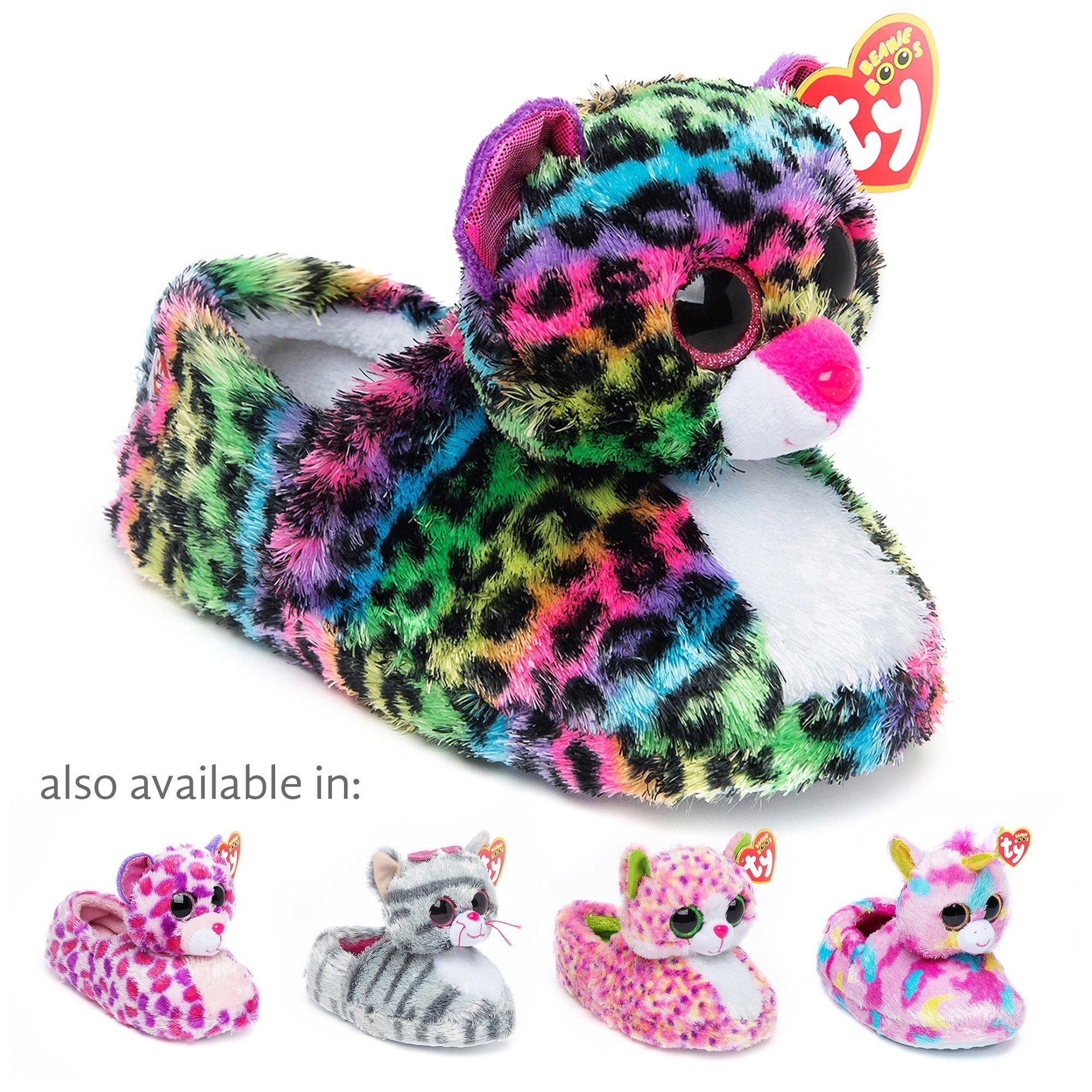TY Beanie Boos Kids Girls Big Head Dotty Leopard Non Skid Plush Slippers, Green/White, Small