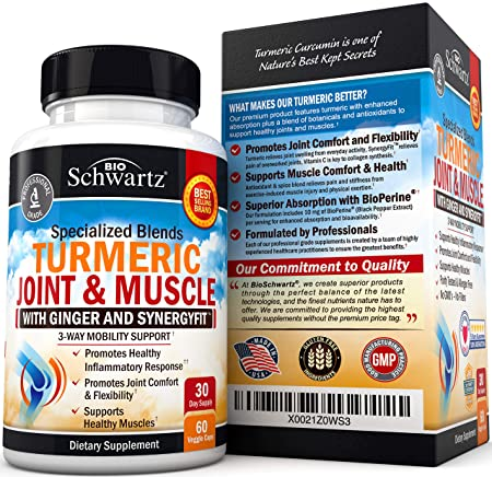 Turmeric Curcumin & Ginger Capsules for Joint Support & Back Pain Relief -  Anti Inflammatory