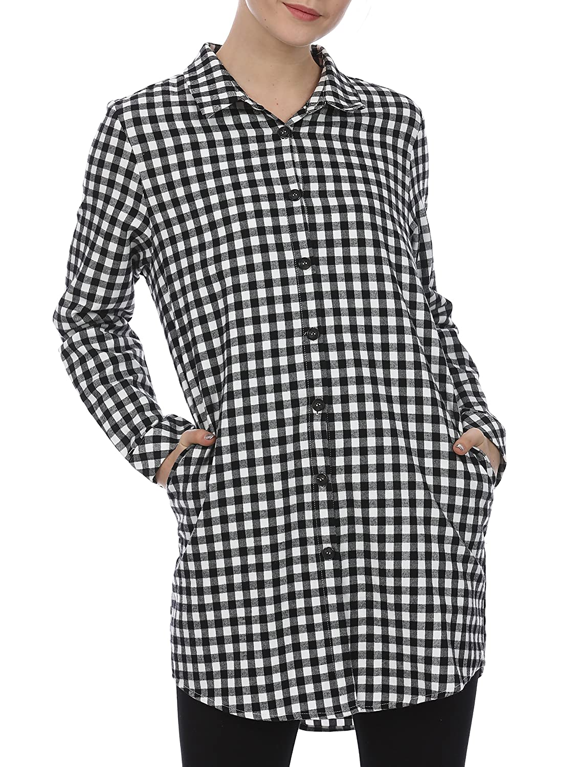 Furami Womens Plaid Button Casual Flannel Shirt Dress Long Sleeve
