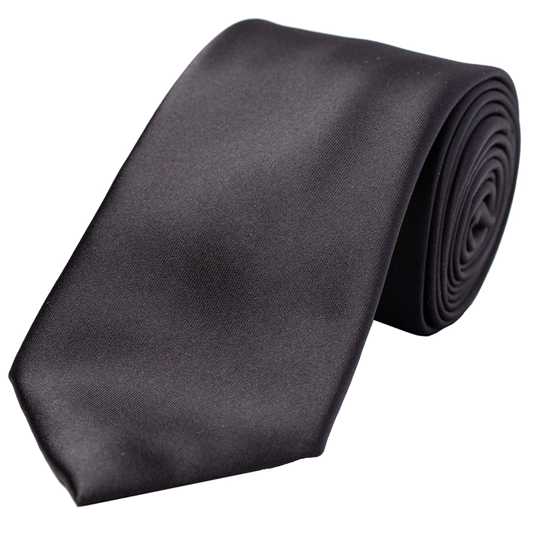 a4540a60f450 KissTies Mens 100% Silk Satin Tie Black Solid Necktie + Gift Box:  Amazon.co.uk: Clothing