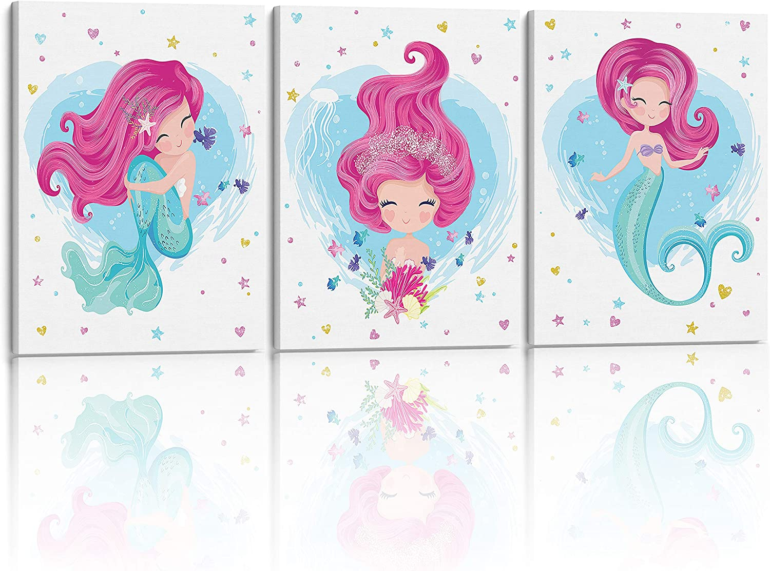Something Unicorn - Stretched/Framed, Ready to Hang Canvas Mermaid Wall Art for Girl's Bedroom. Super Cute Water Color Mermaid Prints for Girls Bedroom Decor. Set of 3. 12x16in - Glitter Mermaid