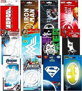 Marvel DC Comics Ultimate Superhero Decal Sticker Set ~ 12 Premium Jumbo Super Hero Sticker Decals Pack Bedroom Decor Superhero Birthday Party Supplies Decorations for Boys Wall Art Laptop Stickers