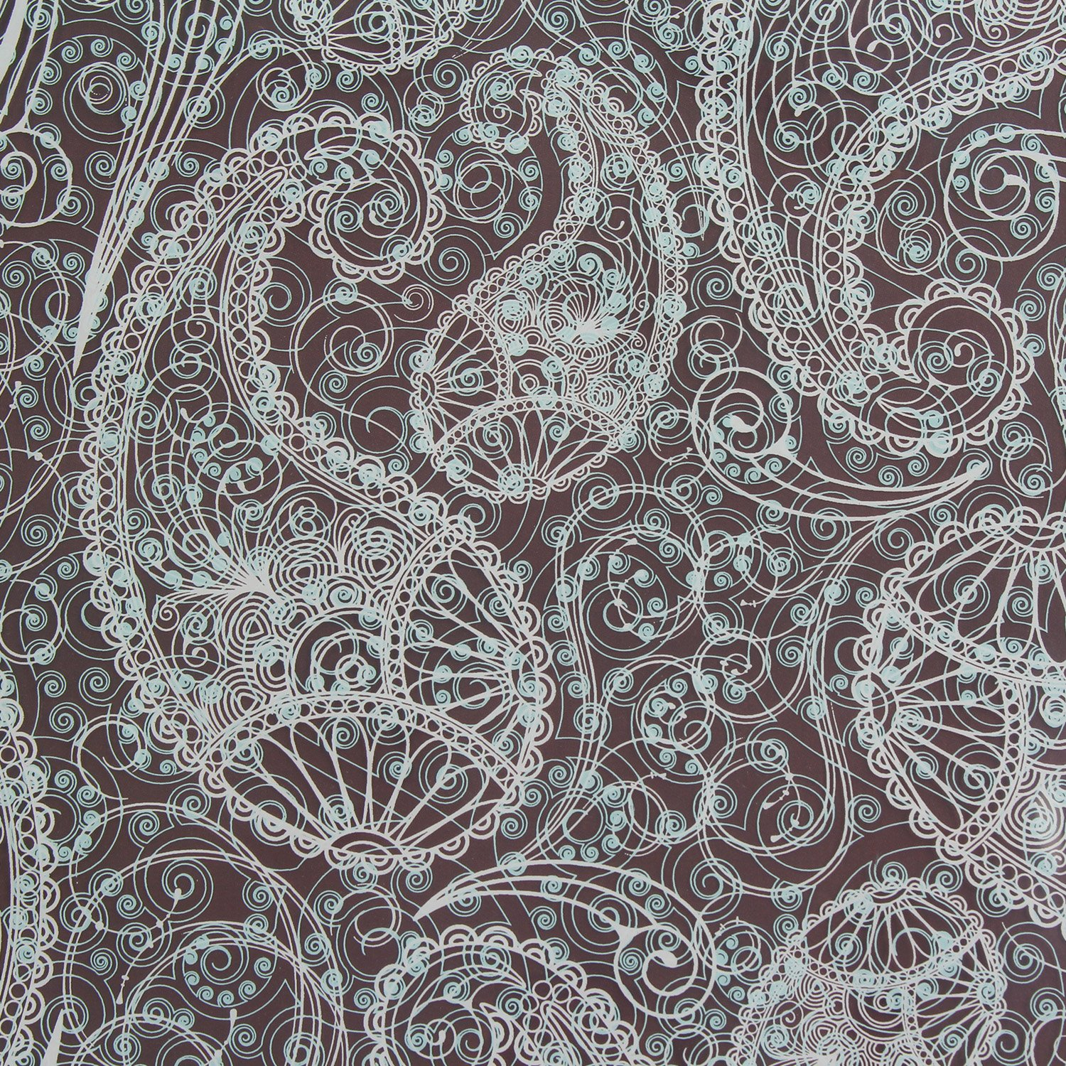 PCB Creation Chocolate Transfer Sheet, Paisley White and Light Blue - Pack of 17