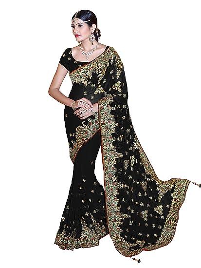 0453f499ae Mirchi Fashion Women's Faux Georgette Embroidered Bridal Wedding Saree  (3439_Black)