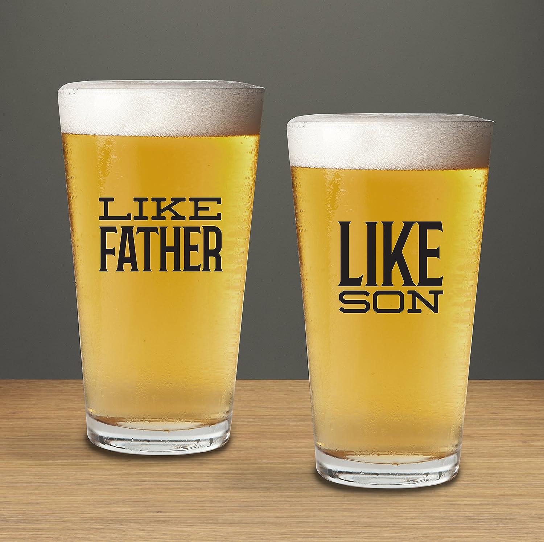 Como Padre como hijo par de vasos de pinta, Heavy mezcla vasos 16 onzas, día del padre cristal para Tequila Whisky Ron, gracias regalo