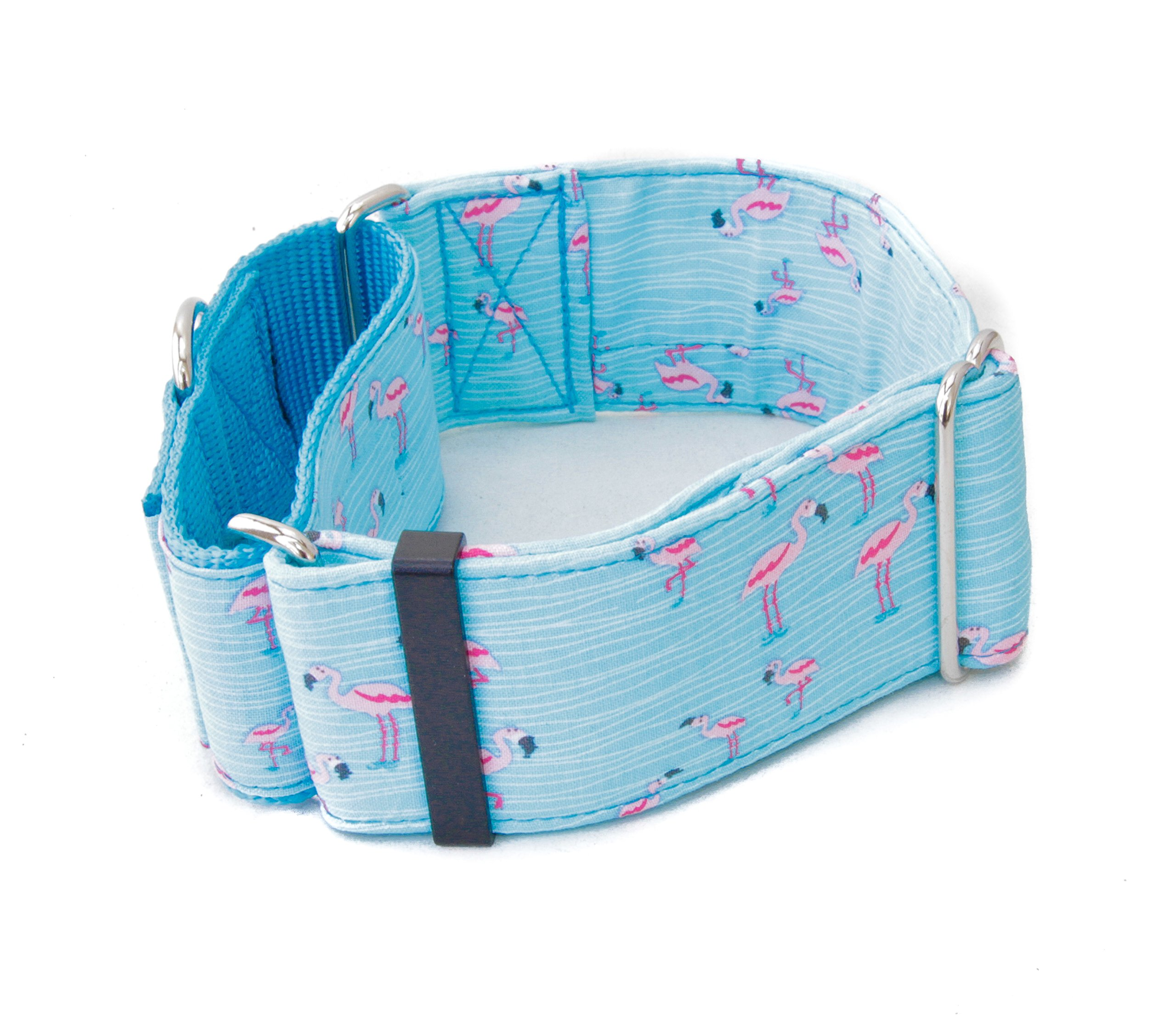 Caninus Collars Pink Flamingos Dog Collar - 1'' - 2'' Widths - Buckle & Martingale (Martingale Collar, M - 2'' Width)