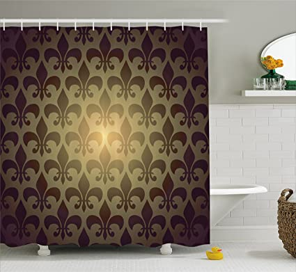 Ambesonne Fleur De Lis Decor Shower Curtain Set, Royal Lily Flower Inspired  Floral Baroque Style