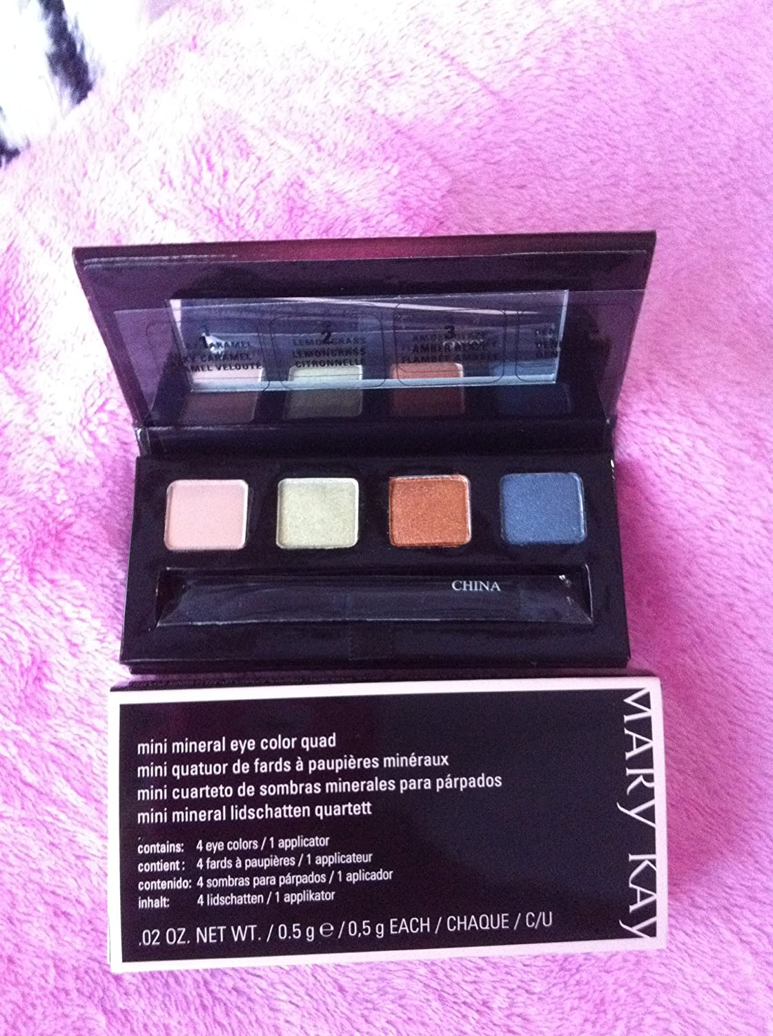 MARY KAY MINI MINERAL EYE COLOUR QUAD SILKY CARAMEL/LEMONGRASS/AMBER GLAZE/DENIN FROST DISCOUNTED WAS EDITION 2010 NEW BOXED