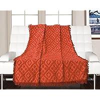 Saral Home 100% Cotton Decorative Tufted Sofa Cover-140x160 cm, Orange