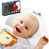 Baby Head Shaping Pillow for Newborns Premium Memory Foam & 2 Bamboo Pillowcase Prevents Rolling Over & Plagiocephaly or Flat Head Syndrome Luxury shower Infant's Gift+Ebook Sleep Guide By SA