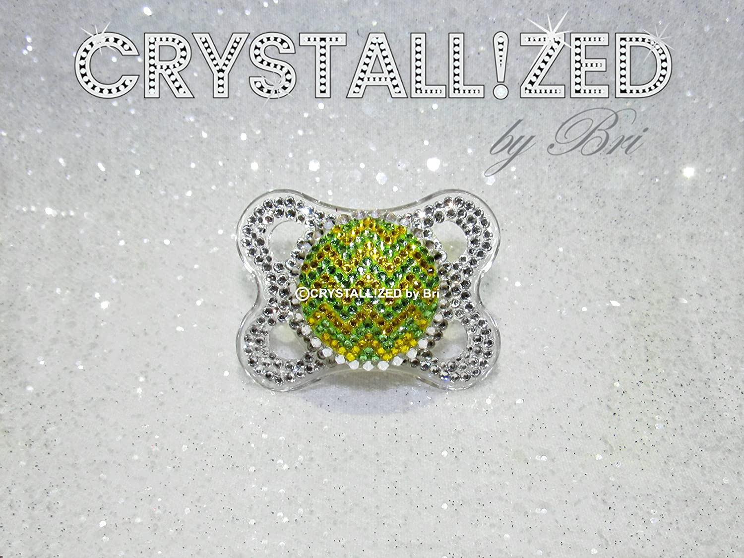 CRYSTALLIZED Yellow Green Zig Zag Baby Pacifier Bling Hand Made with Swarovski Crystals - DECORATION OBJECT ONLY