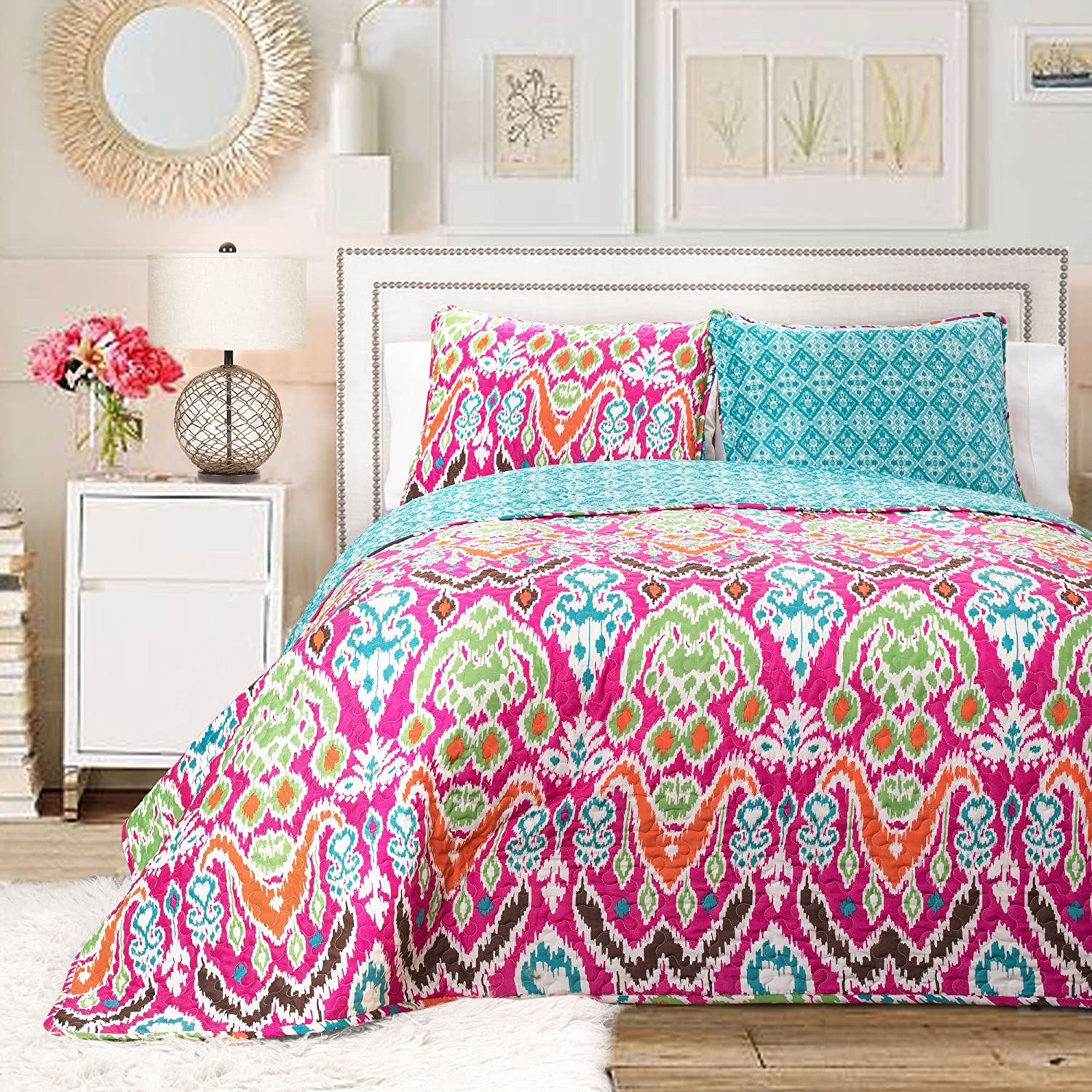 amazoncom lush decor  piece jaipur ikat comforter set king  - amazoncom lush decor  piece jaipur ikat comforter set kingturquoiserust home  kitchen