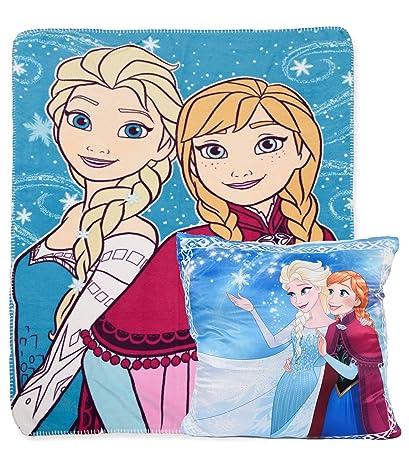 Disney Frozen - Manta de Felpa para niños y cojín Cuadrado ...