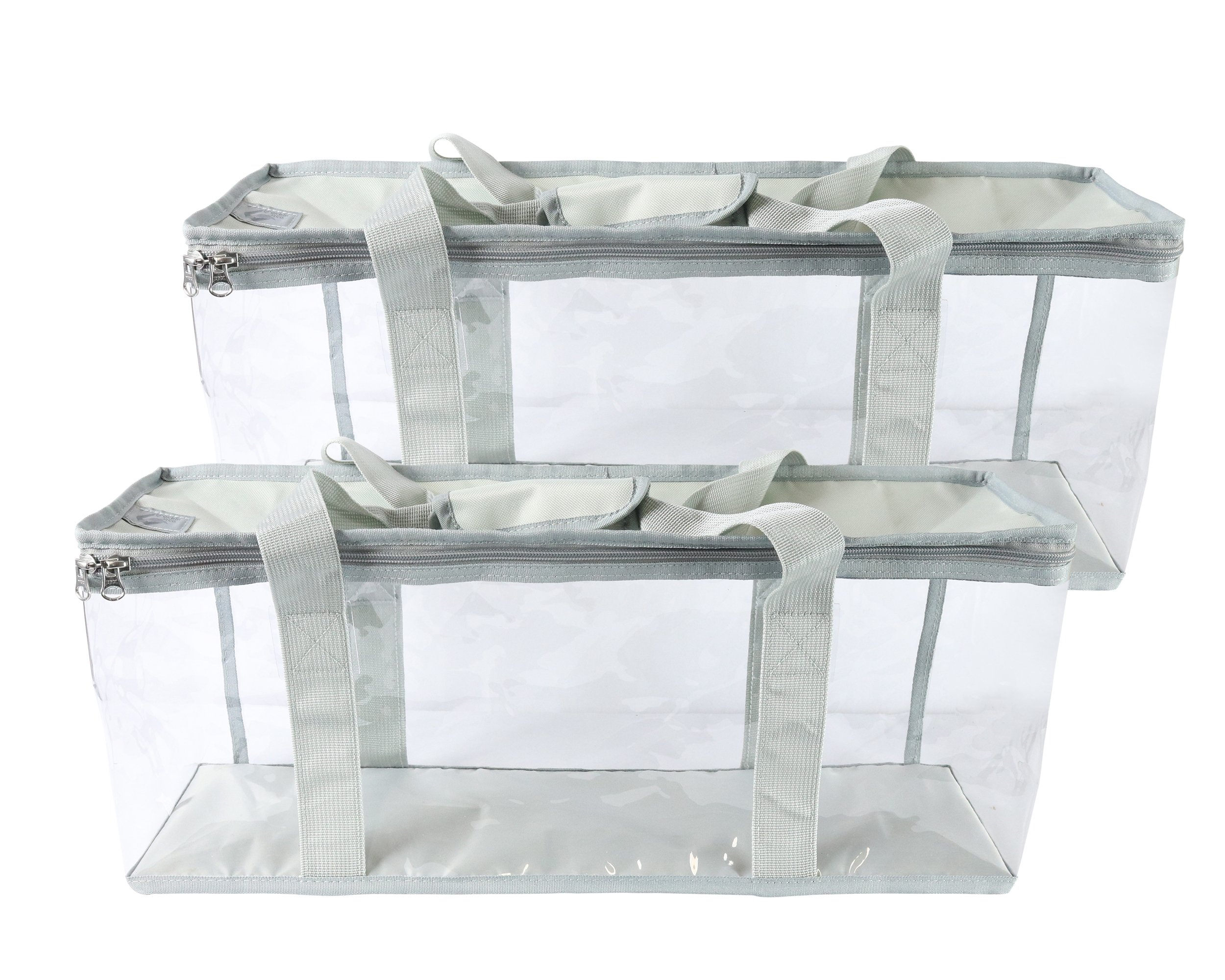 Clear View DVD Blu-Ray Storage Bags – Best Large Capacity Portable Media Organizer Cases For Carrying Film Discs, Home Movies, Video Games – Transparent Lightweight Plastic Zip Totes by Gracem & Co.