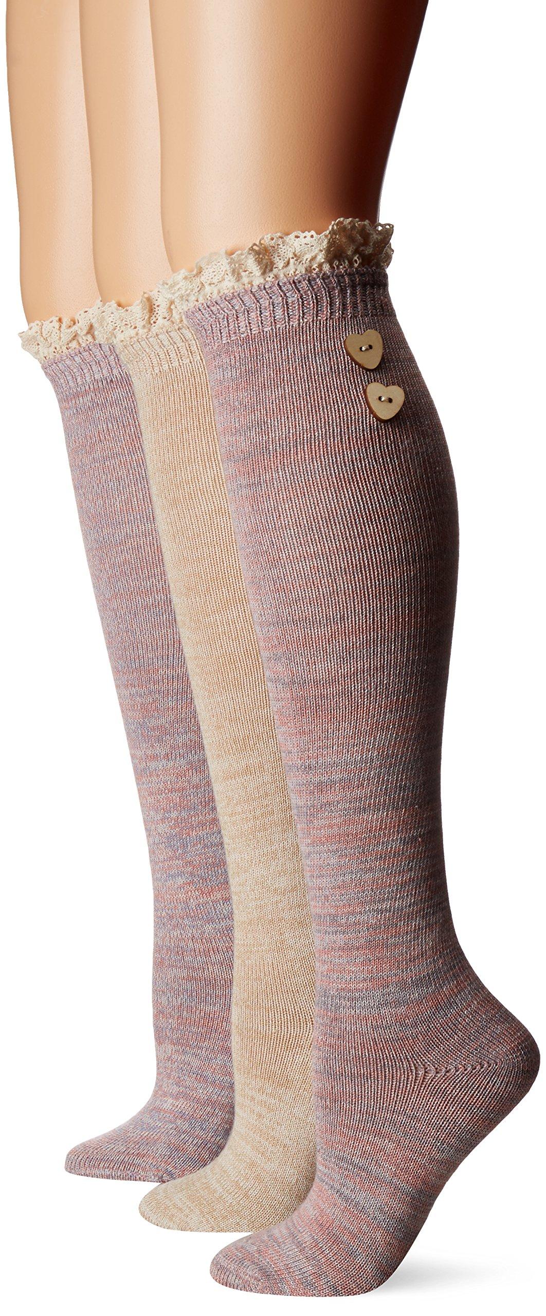 Muk Luks Women's 3 Pair Pack Lace Top Knee High Socks, Multi, OSFM