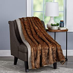 "Lavish Home Throw Luxurious, Soft, Hypoallergenic Premium Chinchilla Fur Blanket with Faux Mink Back and Gift Box, 60""x70"", Brown"