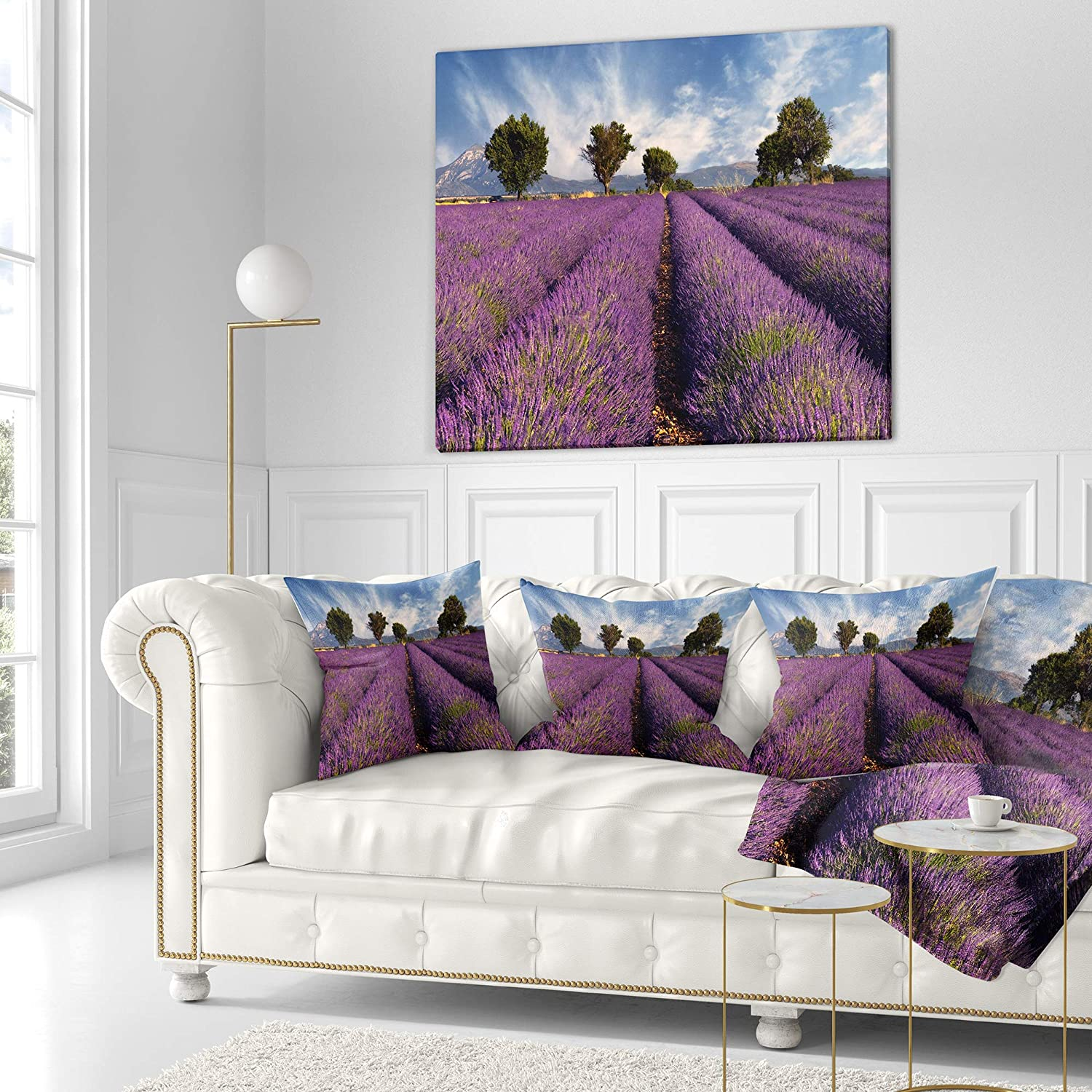 Sofa Throw Pillow 26 x 26 Designart CU12361-26-26 Lavender Field on Windy Afternoon Flower Cushion Cover for Living Room