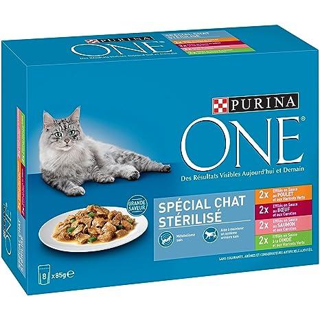 PURINA ONE Especial Gato stérilisé - 8 x 85 g - Bolsas Fiambrera ...