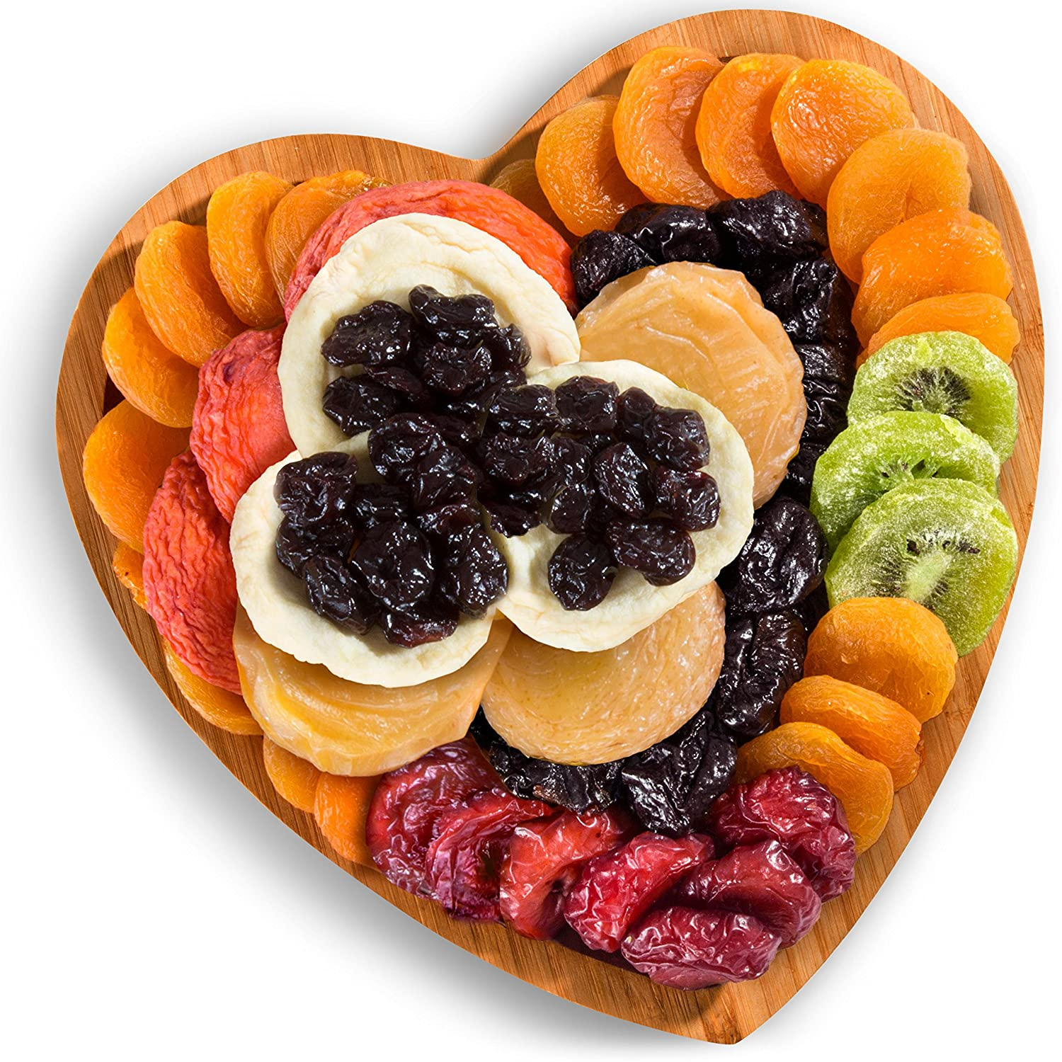 Dried Fruit Gift in Bamboo Heart Tray for Valentine's Day