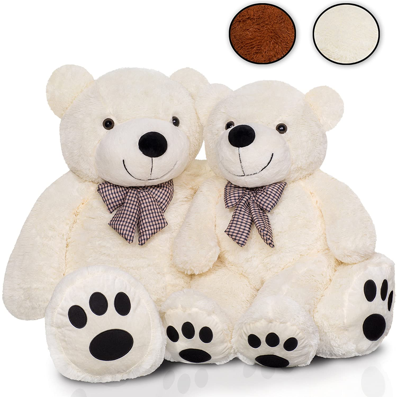 KIDUKU XXL Teddybär | 140 cm | Weiß | mit Schleife | Weiche Füllung | Kuscheltier Kuschelbär Plüschbär Stofftier