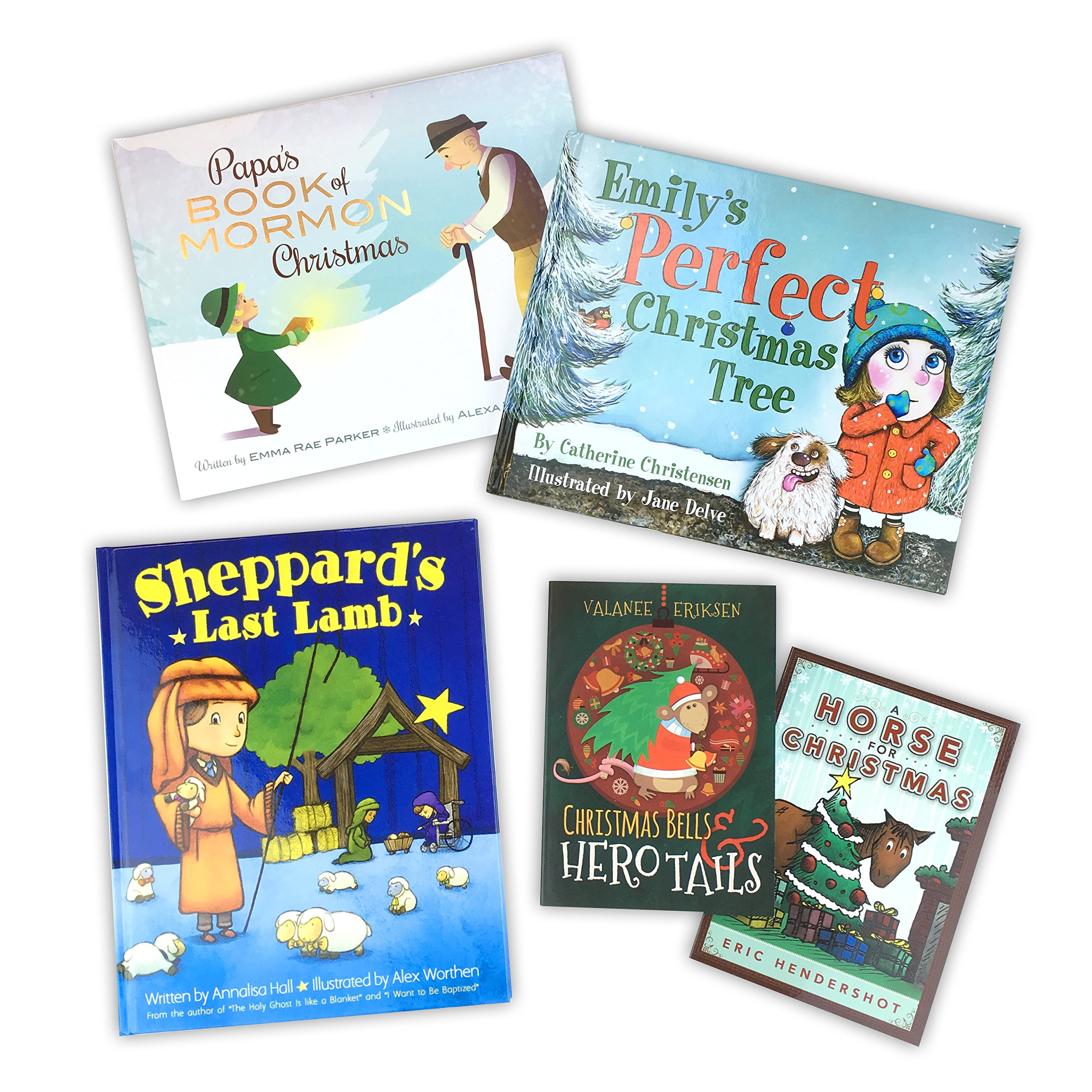 Children's Christmas Book Package, A Horse for Christmas, Christmas Bells and Hero Tails, Emily's Perfect Christmas Tree, Papa's Book of Mormon Christmas