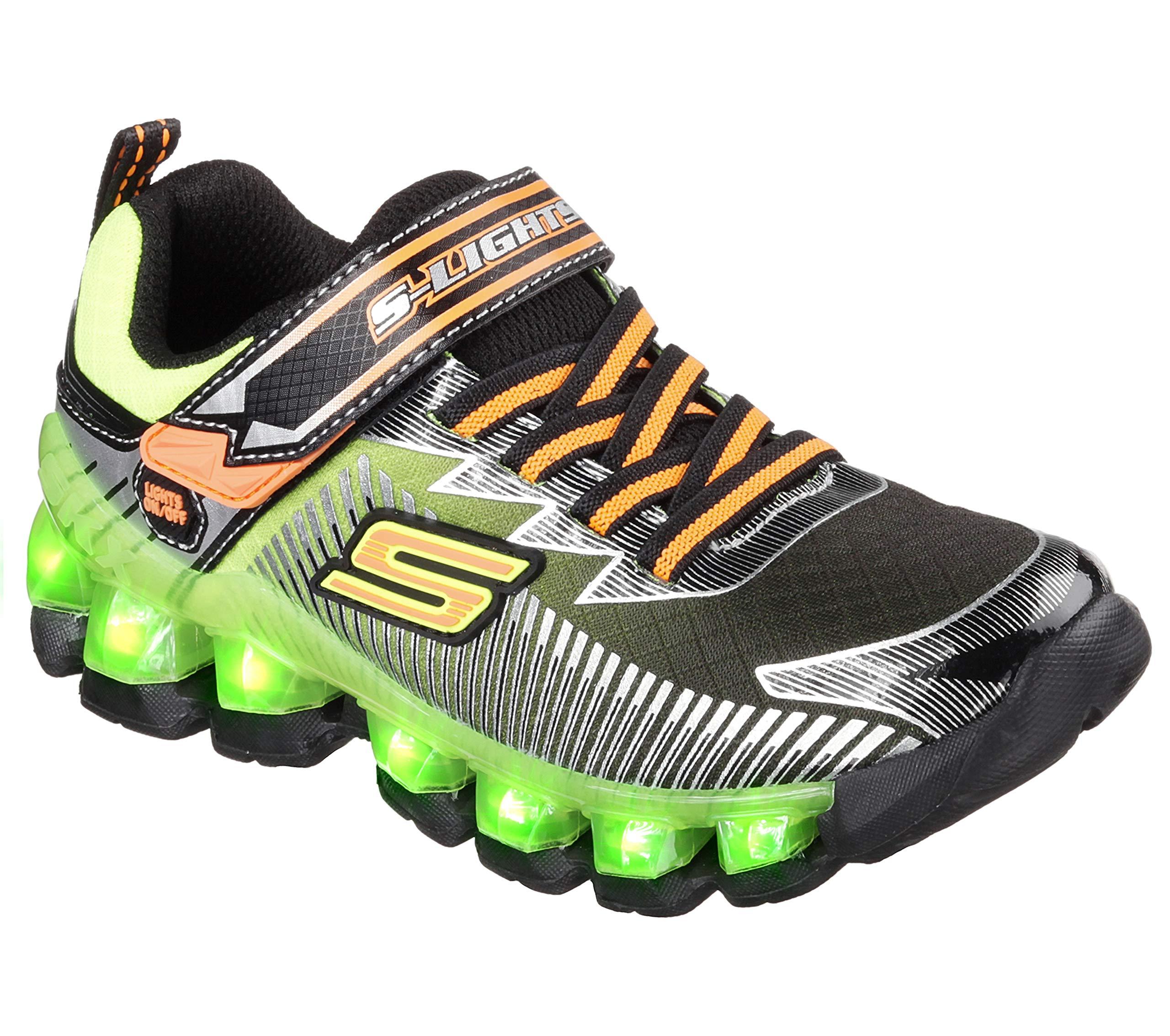 Skechers Kids Flashpod - Scoria Sneaker ,Black/Lime, 12.5 Little Kid M