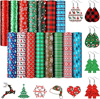 Jewelry Making Christmas Synthetic Leather Sheets Christmas Ornaments Faux Leather Sheets Bow Making Cookie Faux Leather