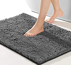 NNEYYOP Non Slip Bath Mat,Soft and Cozy Bathroom Rug,Machine Wash and Dry,Super Absorbent Shaggy Durable Thick Bath Rugs,Suitable for Bathtubs,Rain Showers and Under The Sink,44×26 Inch,Gray