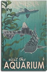 Lantern Press Visit The Aquarium - Leopard Shark (10x15 Wood Wall Sign, Wall Decor Ready to Hang)