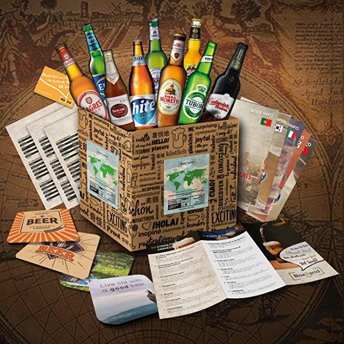 Set de regalo con cervezas extranjeras - Regalo de cumpleaños para novio - regalo de cumpleaños para hombre (9 cervezas exóticas x 0,33l) regalo para ...