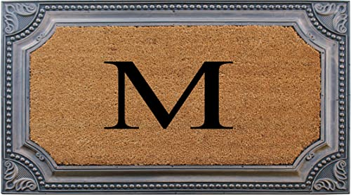 A1 HOME COLLECTIONS RC208-Monogrammed A1HC Large Rubber and Coir Doormat Mat 24 X 39 , M, Estate Bronze Border