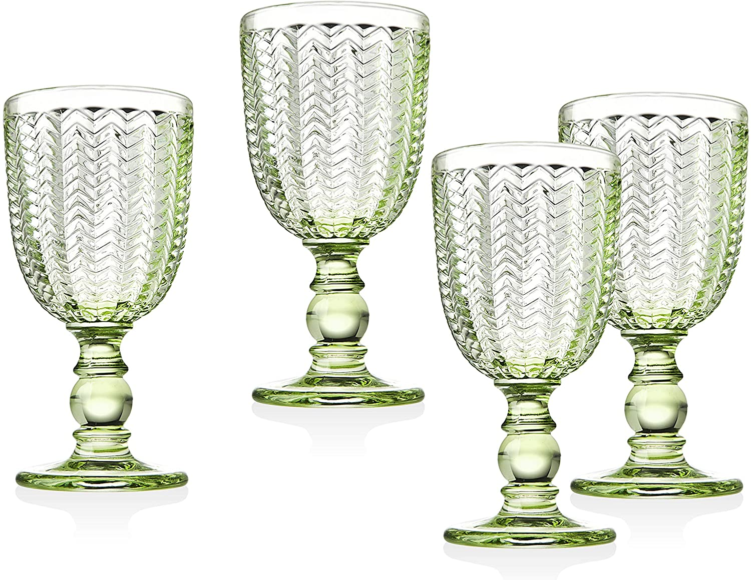Twill Goblet Beverage Glass Cup by Godinger - Emerald Green - Set of 4