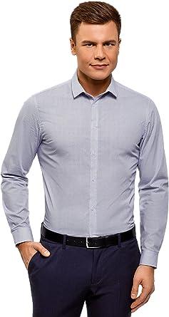 oodji Ultra Hombre Camisa Entallada de Algodón: Amazon.es: Ropa y accesorios