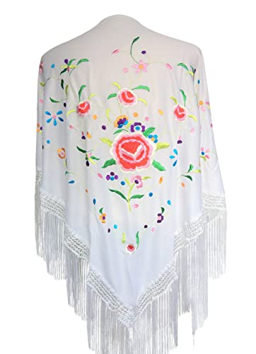 La Señorita Mantones bordados Flamenco Manton de Manila blanco blanco con flores de colores