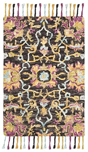 Safavieh Blossom Collection Floral Vines Premium Wool Area Rug, 4 x 6 , Charcoal Multicolored