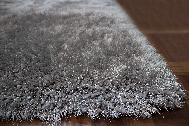 8x10 Feet Silver Light Gray Light Grey Color Solid Decorative Modern Contemporary Designer Area Rug Carpet Rug Bedroom Living Room Indoor Shag Shaggy Canvas Backing Plush Pile Polyester