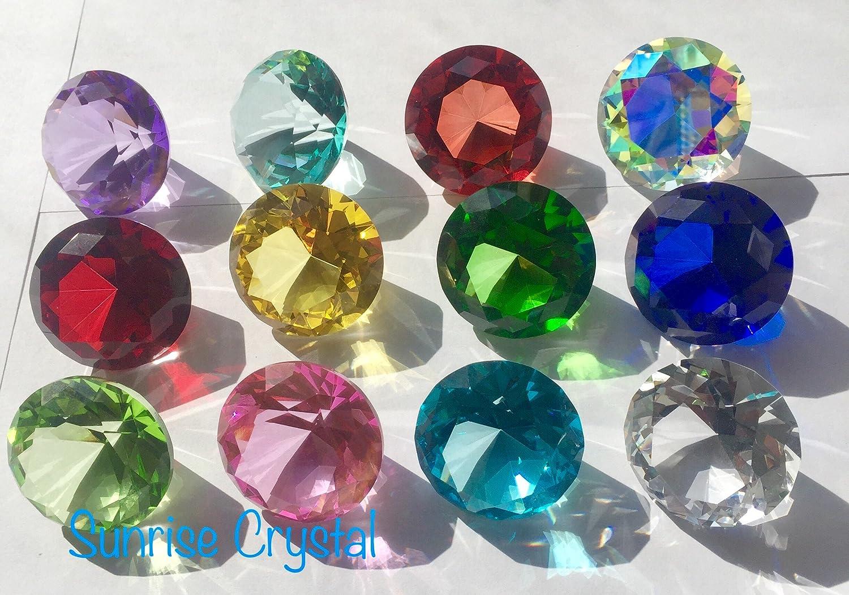 12pcs SunRise Crystal Clear Diamond Jewel Paperweight Birthstone Box Set 40mm Crystal