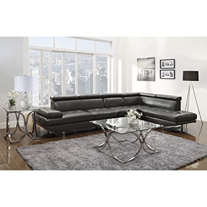 Coaster Piper Contemporary Charcoal Sectional Sofa With Adjustable  Headrests And Chrome Base